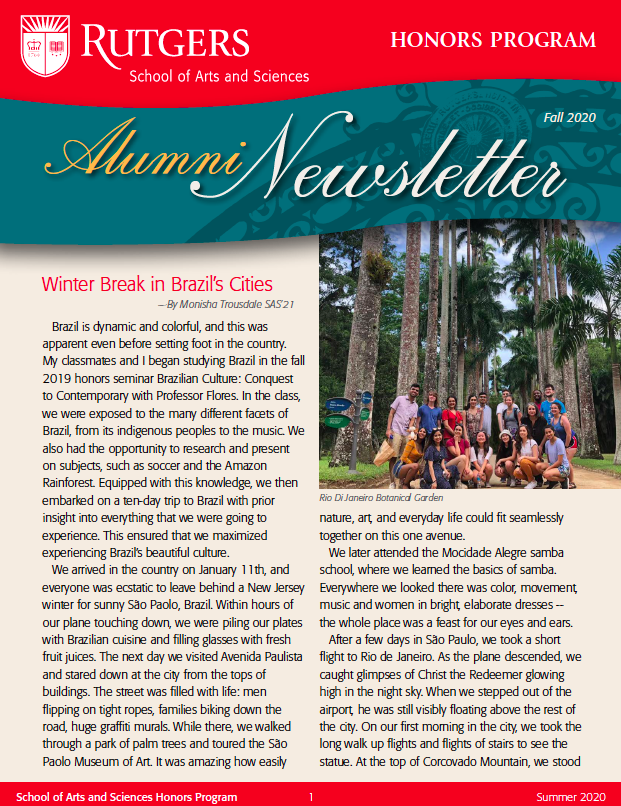 Fall '20 Honors Alumni Newsletter